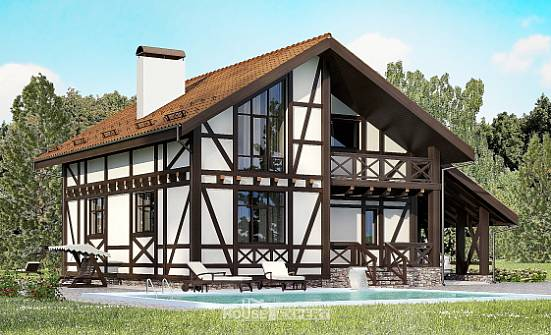 155-002-R Two Story House Plans with mansard roof with garage under, available House Plan, House Expert