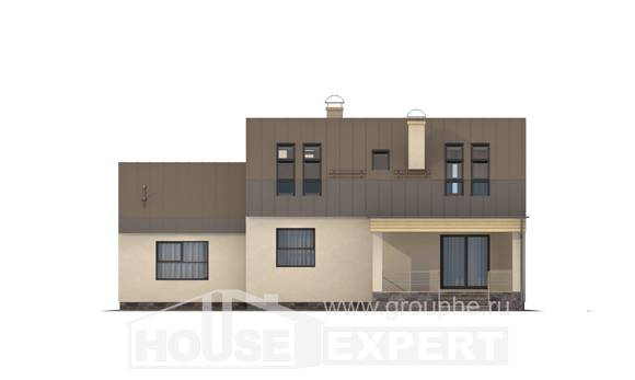 150-015-L Two Story House Plans with mansard roof with garage in front, modest Planning And Design, House Expert