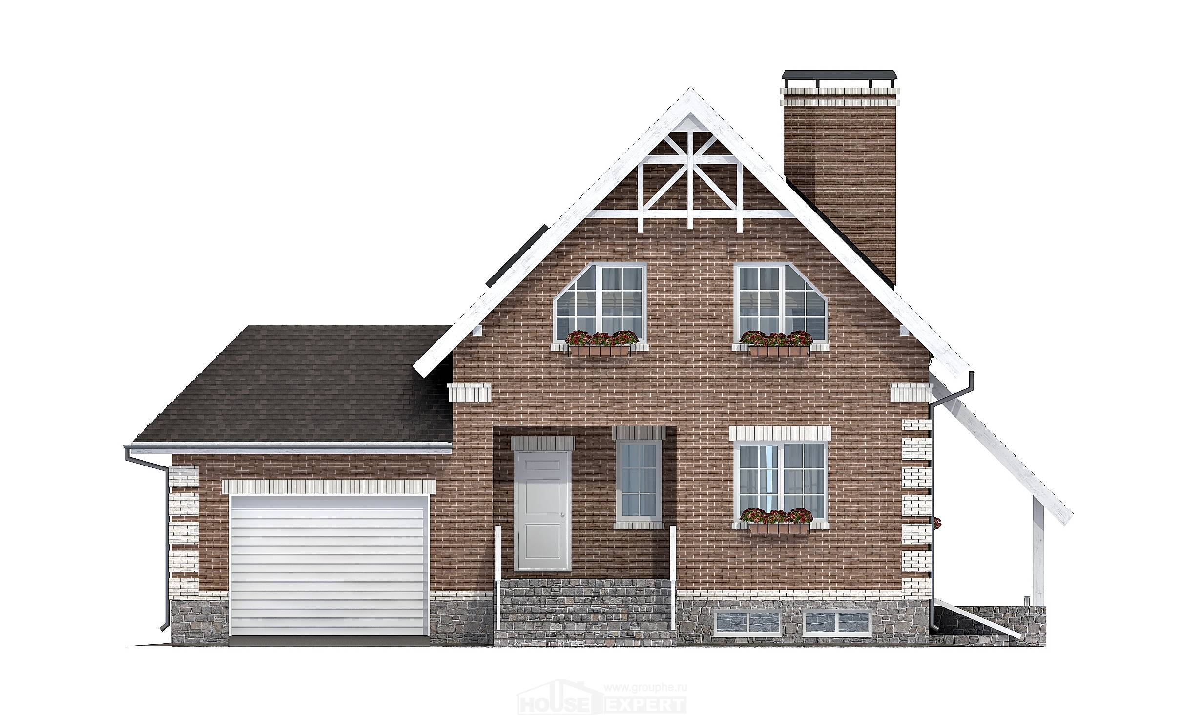 200-009-L Three Story House Plans with mansard with garage, a simple Plans Free