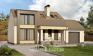 150-015-L Two Story House Plans with mansard with garage, inexpensive Models Plans,