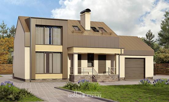 150-015-L Two Story House Plans with mansard with garage, a simple Architects House,