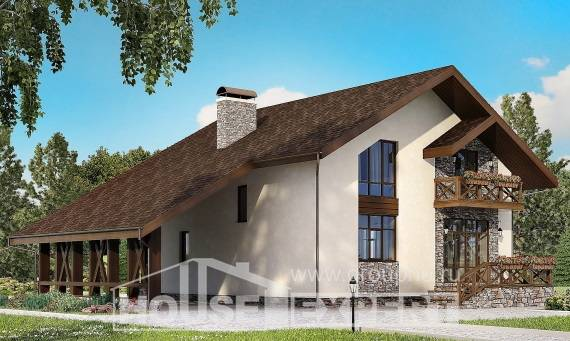 155-007-R Two Story House Plans with garage in front, modest Design House,