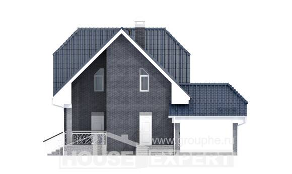 125-002-L Two Story House Plans with mansard roof with garage under, inexpensive Building Plan,