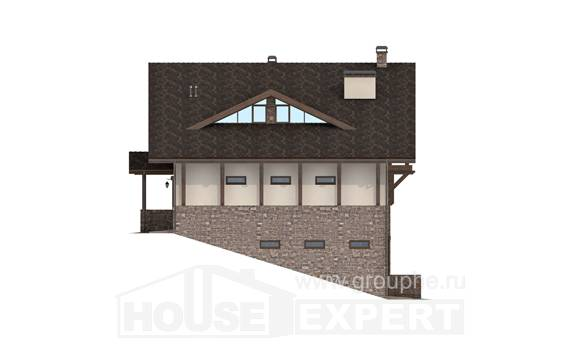 305-002-L Three Story House Plans with mansard roof with garage, a huge Plan Online