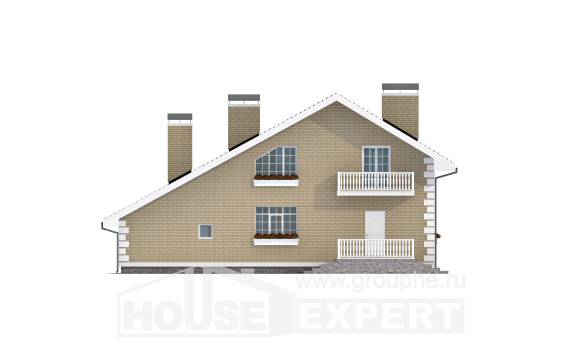 190-005-R Two Story House Plans and mansard with garage in back, beautiful Blueprints of House Plans,