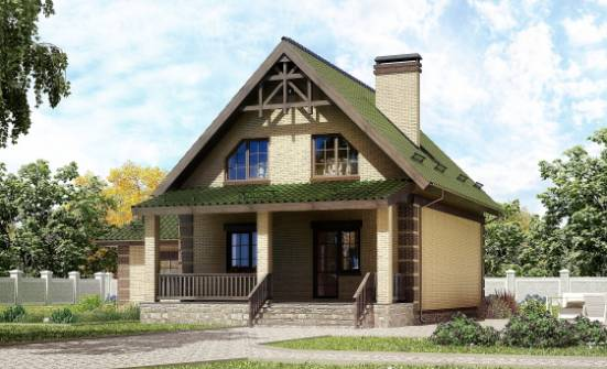160-007-R Two Story House Plans with mansard with garage, compact Home Plans, House Expert