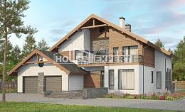 270-003-L Two Story House Plans and mansard with garage in front, luxury Architect Plans,