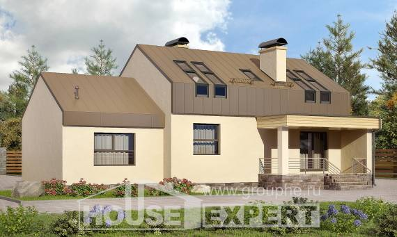 150-015-L Two Story House Plans with mansard with garage under, cozy Models Plans,