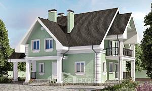 140-003-L Two Story House Plans with mansard roof with garage in back, small Cottages Plans