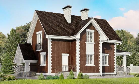 190-003-L Two Story House Plans and mansard with garage in front, average Design Blueprints, House Expert