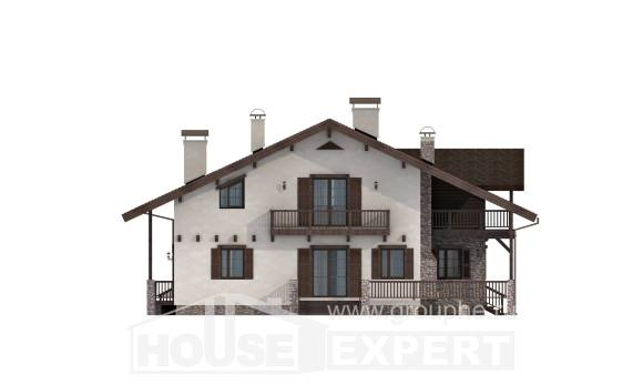250-003-R Two Story House Plans with mansard, cozy Design Blueprints, House Expert
