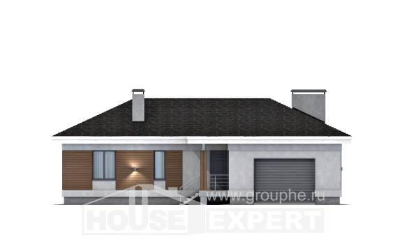 165-001-R One Story House Plans with garage in back, classic Architects House