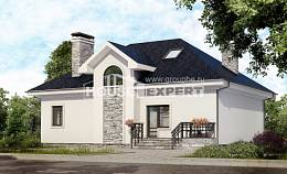 150-008-R Two Story House Plans and mansard, compact Floor Plan,