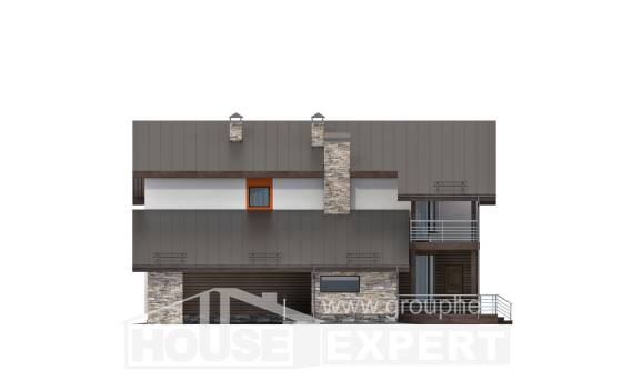 200-010-R Two Story House Plans with mansard with garage under, cozy Blueprints, House Expert