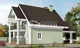 140-003-L Two Story House Plans with mansard with garage, the budget Online Floor, House Expert