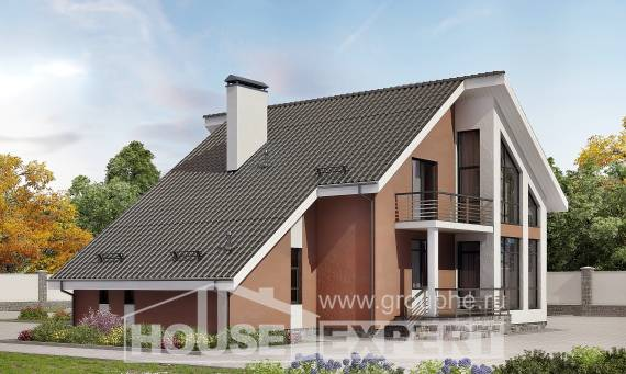 200-007-R Two Story House Plans with mansard and garage, spacious Floor Plan, House Expert