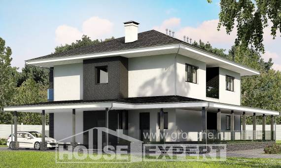 245-002-R Two Story House Plans with garage, cozy Ranch,