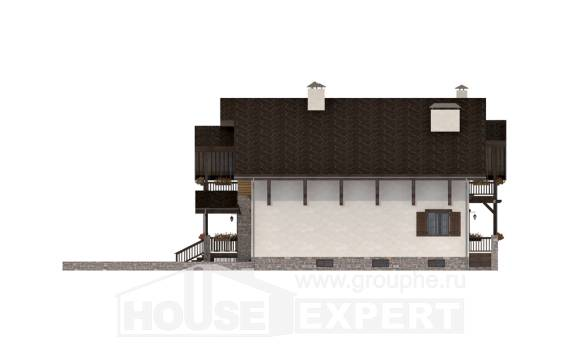 400-004-R Three Story House Plans with mansard with garage, modern House Building