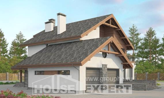 270-003-L Two Story House Plans with mansard with garage under, spacious Design House,