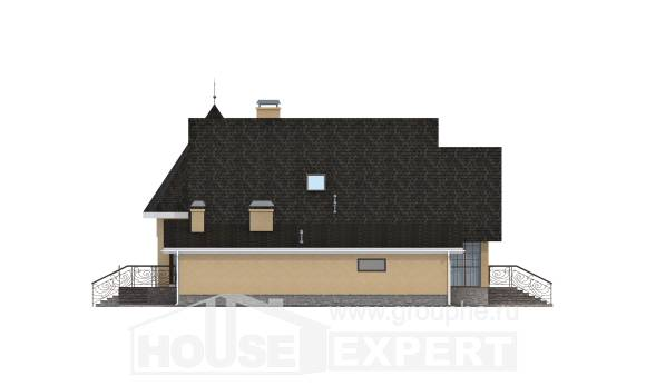 250-001-L Two Story House Plans with mansard with garage under, luxury Architectural Plans,