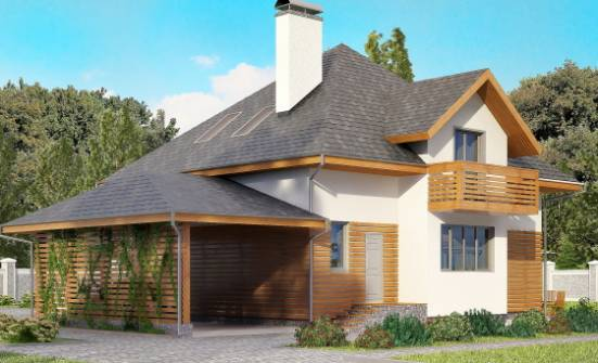 155-004-R Two Story House Plans with mansard roof and garage, the budget Building Plan, House Expert