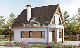 120-005-R Two Story House Plans and mansard with garage in back, economical Ranch,