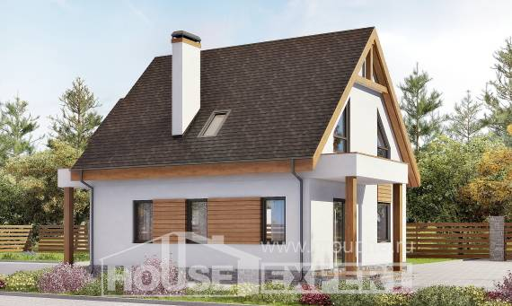 120-005-R Two Story House Plans with mansard roof with garage under, the budget Design House, House Expert