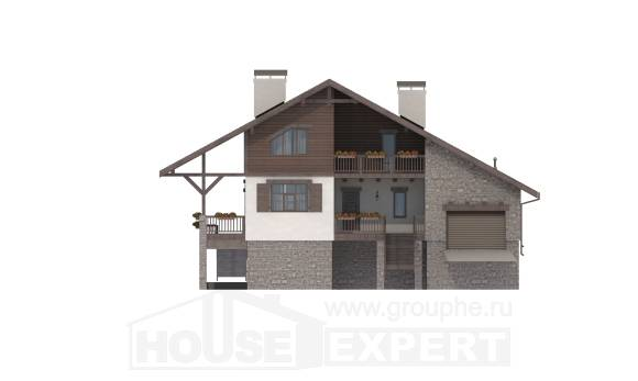 300-003-R Three Story House Plans with mansard with garage under, modern Drawing House,