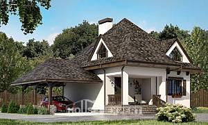 110-002-L Two Story House Plans with mansard roof with garage, economical Plan Online