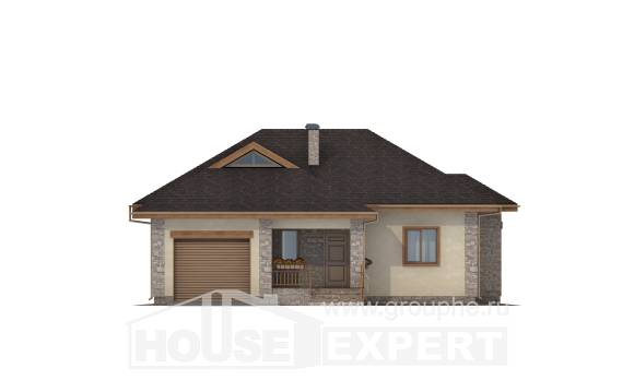 130-006-L One Story House Plans with garage in front, a simple Blueprints,