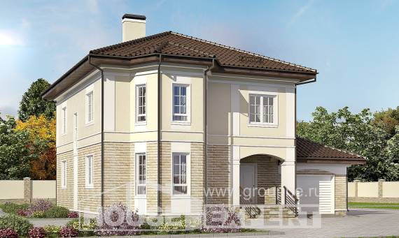 220-007-R Two Story House Plans with garage in front, cozy Villa Plan