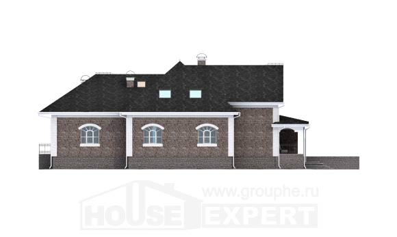 490-001-R Three Story House Plans with mansard roof with garage under, spacious Timber Frame Houses Plans,
