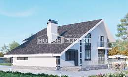 190-008-R Two Story House Plans with mansard roof and garage, spacious Custom Home Plans Online, House Expert
