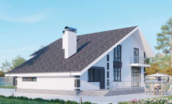 190-008-R Two Story House Plans with mansard with garage under, luxury Dream Plan, House Expert