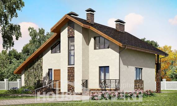 180-008-R Two Story House Plans and mansard with garage in front, spacious Plans Free,