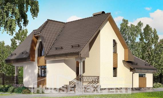 150-001-L Two Story House Plans with mansard with garage in back, the budget Home House, House Expert