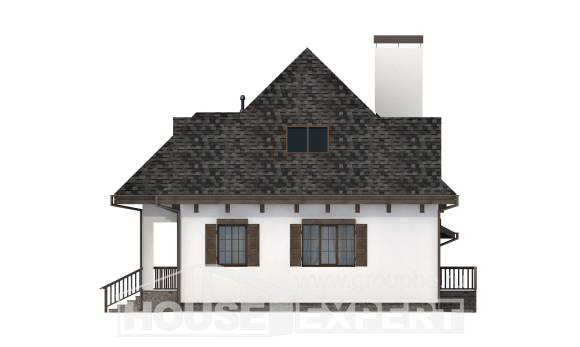 110-002-L Two Story House Plans and mansard with garage in back, compact Building Plan,