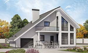 200-007-L Two Story House Plans with mansard and garage, a simple Cottages Plans,
