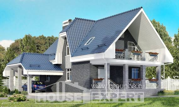 125-002-L Two Story House Plans with mansard roof with garage in back, the budget Blueprints of House Plans,
