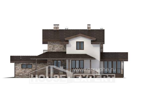 220-001-R Two Story House Plans with mansard roof with garage under, beautiful Design Blueprints,