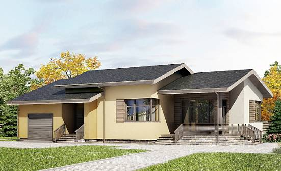 135-002-L One Story House Plans with garage, small Design House,