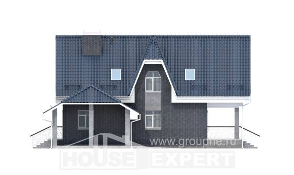 125-002-L Two Story House Plans with mansard roof with garage under, compact House Plan,