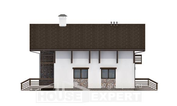 280-001-R Two Story House Plans with mansard roof with garage, big Tiny House Plans,