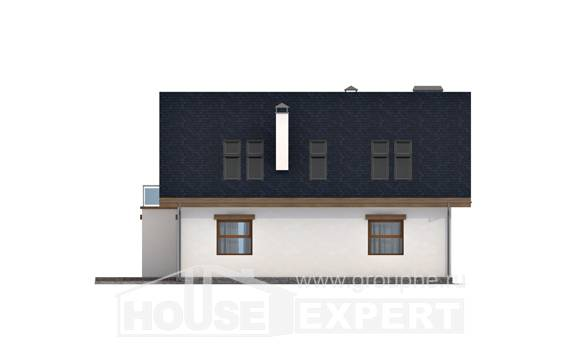 155-012-R Two Story House Plans with mansard roof, modest Home Blueprints