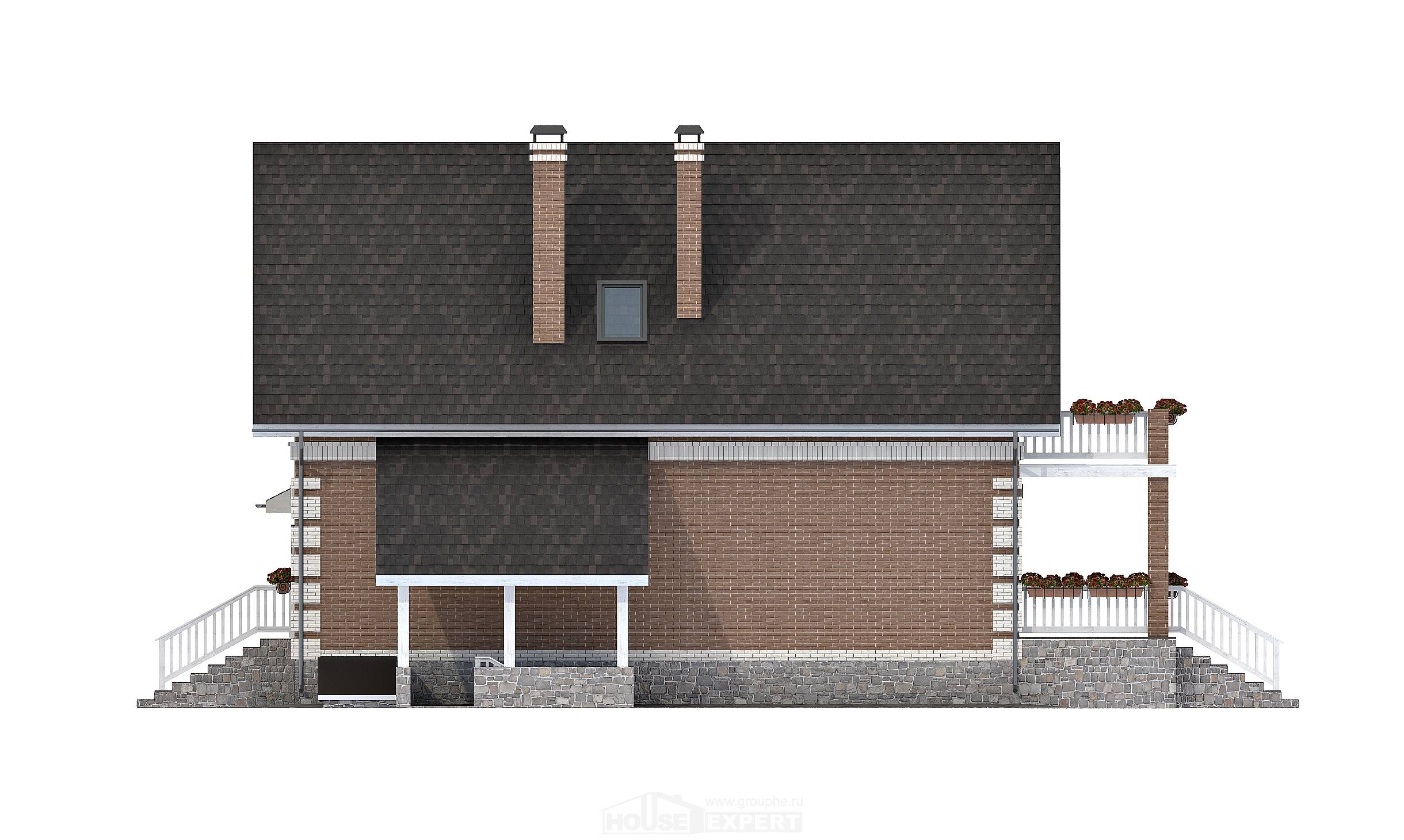 200-009-L Three Story House Plans with mansard and garage, spacious House Plan