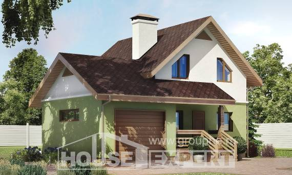 120-002-R Two Story House Plans and mansard and garage, cozy Design House,