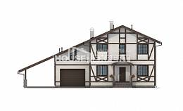250-002-L Two Story House Plans with mansard roof with garage in back, a simple Villa Plan,