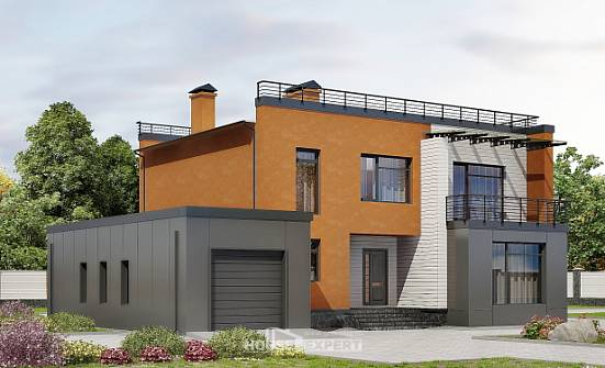 260-002-L Two Story House Plans with garage, big Villa Plan,