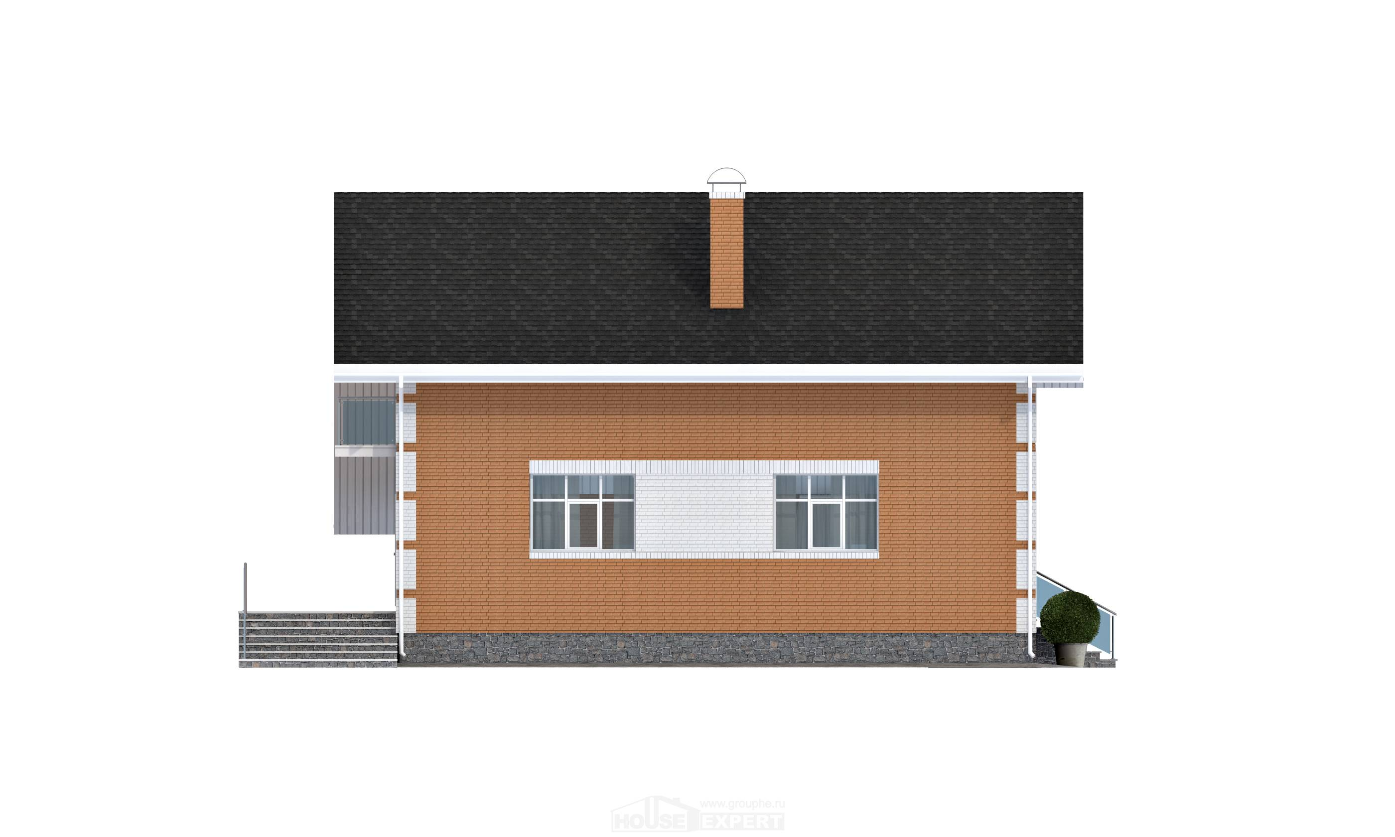 190-006-R Two Story House Plans with mansard and garage, spacious Design Blueprints,