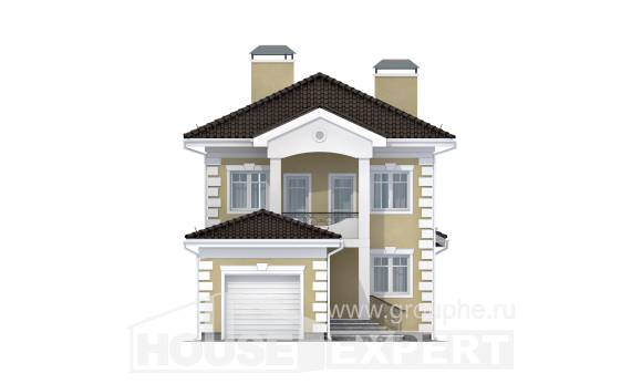 150-006-L Two Story House Plans with garage in front, a simple Architects House,